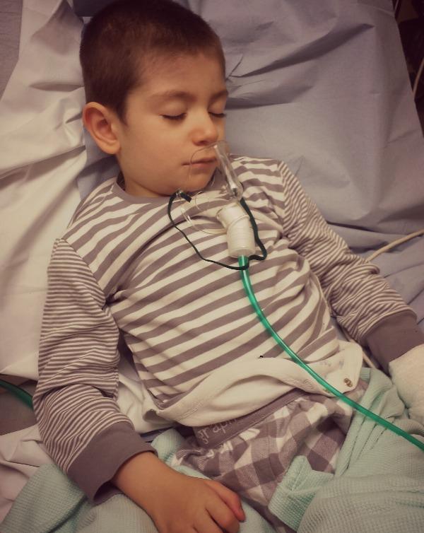 Grayson in hospital in M&S PJ's