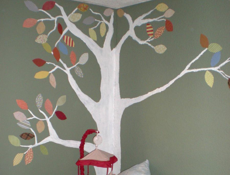 Boys Nursery with beautiful tree moral using wallpaper leaves from Innocent Charms Chats